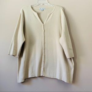 August Max Woman Beige Button Front Sweater 2X